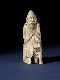 The Lewis Chessmen - Chess-piece; walrus ivory; knight,1150-1175 (circa) - Findspot : Uig (Europe,United Kingdom,Scotland,Western Isles,Lewis,Uig)