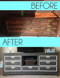 How to make your own entertainment center. NO SANDING!Thrift and Craft do this with Evans dresser for entertainment center down stairs Diy Dresser Makeover, Furniture Makeover, Dresser Makeovers, Refurbished Furniture, Repurposed Furniture, Entertainment Center, Furniture Projects, Diy Furniture, Dresser Furniture