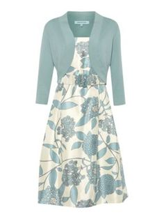 Dickins & Jones Ladies floral belted dress with matching cardigan Blue - House of Fraser