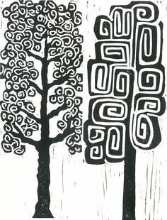 Linocut Print MOD TREES 2 Black & White Mid Century by magprint