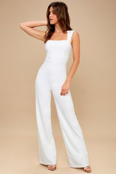 Lulus Enticing Endeavors White Jumpsuit size m Wedding Jumpsuit, Backless Jumpsuit, Jumpsuit Outfit, Casual Jumpsuit, Black Jumpsuit, White Jumpsuit Formal, Burgundy Jumpsuit, Dressy Rompers And Jumpsuits, Jumpsuits For Women