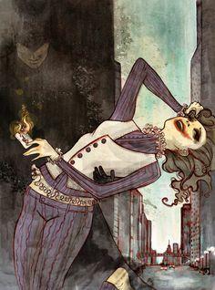 Gorgeous gender-swapped Joker by *robbiedraws on DeviantArt.