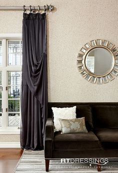 Couture Drapery Fashions Dining Room Curtains, Dining Room Windows, Bedroom Blinds, Tulle Curtains, Hanging Curtains, House Blinds, Blinds For Windows, Modern Curtains, Colorful Curtains