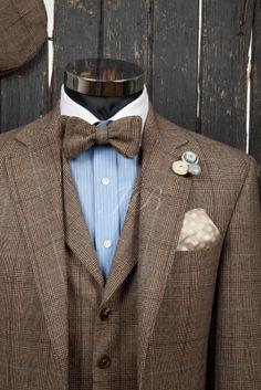 wedding groomsmen tweed   wedding suit with a bow tie, vintage wedding suit, bow ties for grooms ...