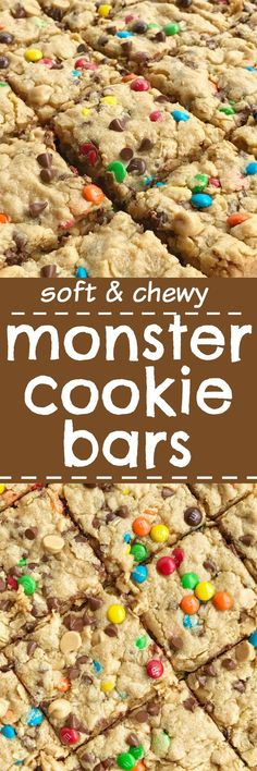Monster Cookie Bars- A fun treat loaded with peanut butter oats chocolate chips peanut butter chips and mini m&m's. They bake up perfectly soft chewy and thick. A great recipe to make with the kids or great for back-to-school lunches or after school Mini Desserts, Just Desserts, Delicious Desserts, Yummy Food, Plated Desserts, Oreo Dessert, Dessert Bars, Candy Bar Cookies, Chip Cookies