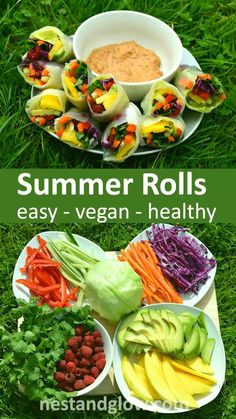 Here is a quick and easy recipe that's much easier to make than it looks. Vegan and full of goodness, these summer rolls with spicy dip are one of our favorite healthy recipes. Recipes vegan Summer Rolls with Spicy Nut Dip Raw Vegan Recipes, Vegetarian Recipes, Raw Vegan Dinners, Vegan Recipes Summer, Raw Vegan Meal Plan, Vegan Recipes Healthy Clean Eating, Heart Healthy Recipes, Vegetarian Cooking, Detox Recipes