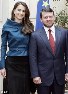 Power couple: Queen Rania with her husband King Abdullah II pictured during a visit to France