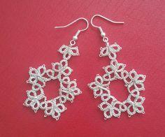 Handmade earrings tatting di TkachenkoOksana su Etsy
