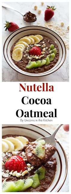 This Nutella Cocoa Oatmeal Bowl is perfect for breakfast, or any time that you crave something sweet and easy! Make it even better by adding some cocoa powder! Nutella Breakfast, Breakfast Bowls, Sunday Breakfast, Nutella Recipes, Oatmeal Recipes, Brunch Recipes, Breakfast Recipes, Brunch Ideas, Mouth Watering Food