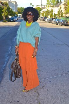 Style Pantry | Blue Oversize Sweater + Orange Pleated Tiered Maxi