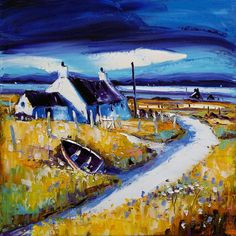 Jean Feeney (was born In York of Scottish~Welsh parents, Jean moved to Scotland in Lives in rural Perthshire). Irish Cottage, Cottage Art, Landscape Art, Landscape Paintings, Landscapes, Cityscape Art, Art Techniques, Art Pictures, Watercolor Art