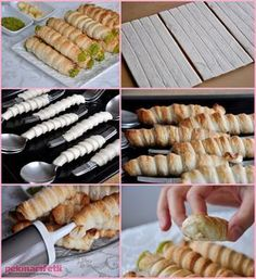 New Easy Cake : Ingredients (for 15 pieces) 3 sheets of puff pastry (double square) for milk jug; Baking Recipes, Dessert Recipes, Healthy Recipes, Good Food, Yummy Food, Tasty, Pastry Design, Tea Time Snacks, Bread And Pastries