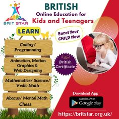 Kickstart your Kid's journey into the world of Coding and Programming! Enrol your child at Brit Star - British Online Kids School and let them start learning coding and programming languages. Book a free demo classes.