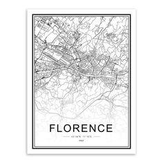 Black/White Custom World Map - A4 21x30 cm No Frame / Florence