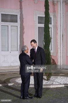 Portuguese Prime Minister Antonio Costa receives King Felipe VI for a Gala dinner at Palacio de las Necesidades during his official visit to Portugal on Nov. 29, 2016 in Lissabon.