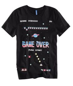 Jersey T-shirt with a computer game motif at front.