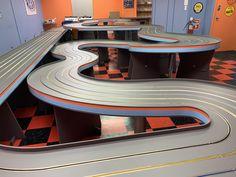 Slot Car Tracks, Slot Cars, Car Racer, Poker Table, Diorama, Building, Wood, Woodwind Instrument, Buildings
