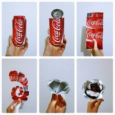 10 Miraculously DIY From Soda Beverage Cans is part of Aluminum can crafts - How often do you drink soda Do you usually just throw it in the trash after you have drunk the … Aluminum Can Flowers, Aluminum Can Crafts, Metal Crafts, Recycled Crafts, Recycled Clothing, Recycled Fashion, Aluminum Foil Art, Recycled Metal Art, Pop Can Crafts