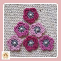 Items similar to Crochet Flower Embellishments, Crochet Flower Appliques, 6 Crochet Flowers on Etsy Crochet Flower Patterns, Flower Applique, Crochet Flowers, Felt Cupcakes, Pink Color Schemes, Elsa, Embellishments, My Etsy Shop, Crochet Hats