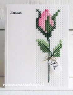 Anja Zom: Marianne Design Cross Stitch Border die and Rose Pattern Xmas Cross Stitch, Cross Stitch Bookmarks, Cross Stitch Cards, Simple Cross Stitch, Cross Stitch Rose, Cross Stitch Borders, Cross Stitch Flowers, Cross Stitch Designs, Cross Stitching