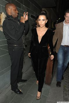 kim kardashian style- I die for this pant suit! And it's velvet!