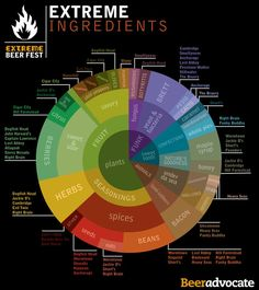 Extreme ingredients in brewing beer. Great for identifying flavors in craft beer, and as inspiration for home brewing! Better Living Through Beer http://www.pinterest.com/wineinajug/better-living-through-beer/
