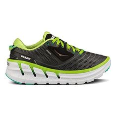 Hoka One One Womens Vanquish Black Acid Aqua Running Shoe - ** For more information, visit image link. (This is an affiliate link and I receive a commission for the sales) Trail Running Shoes, Hiking Shoes, Road Running, Trail Shoes, Blue Sneakers, Classic Leather, Combat Boots