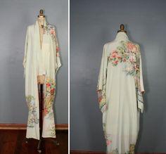 silk kimono / vintage kimono / floral robe / ARGENTEUIL bird kimono