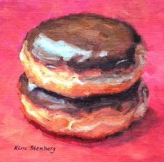 Donut Painting Original Oil Still Life by KimStenbergFineArt, $120.00