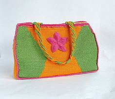 PDF crochet bag pattern Flor del valle in tunisian by Luganika