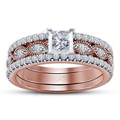 3Pcs 14k Two Tone Plated 925 Silver Princess Cut D/VVS1 Diamond Bridal Ring Set  #Aonejewels