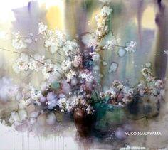 Yuko Nagayama Watercolor And Ink, Watercolor Flowers, Watercolour Paintings, Flower Paintings, Watercolours, Illustration Art, Sketches, Abstract, Drawings