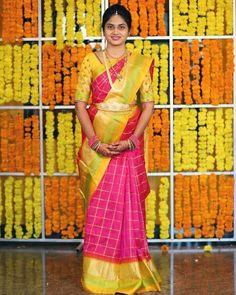 The combination of colours is 😍😍💖💛 Bride tag us DM your pics or mail them… Telugu Wedding, Wedding Mandap, Saree Wedding, Wedding Stage Decorations, Marriage Decoration, Bridal Silk Saree, Bridal Makeover, Silk Saree Blouse Designs, Indian Bridal Fashion