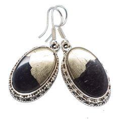 "Pyrite In Magnetite (healer's Gold) 925 Sterling Silver Earrings 1 1/2"" EARR318204"