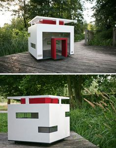No dog-loving fan of Bauhaus architecture could pass the Cubix Modern Dog House without a second look. Made of varnished wood with break-proof glass windows that can withstand all weather conditions, this dog house is worthy of a highly visible location in your yard.