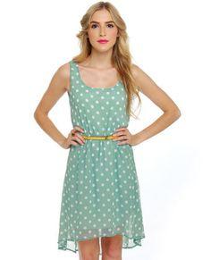 Southern Hospitality Light Blue Polka Dot Dress... want it for school!