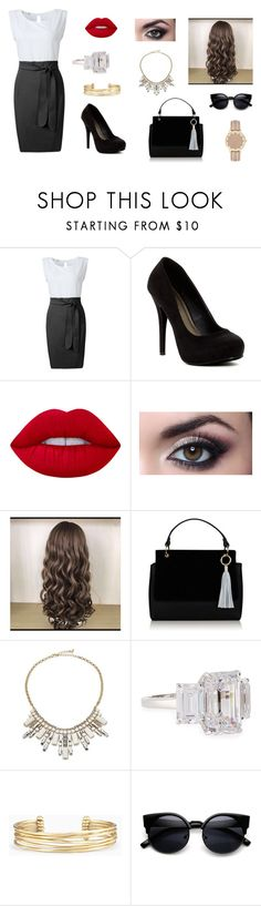 """""""Market Enforcement manager"""" by sarah4ever123 ❤ liked on Polyvore featuring Michael Antonio, Lime Crime, ABS by Allen Schwartz, Fantasia by DeSerio and Stella & Dot"""