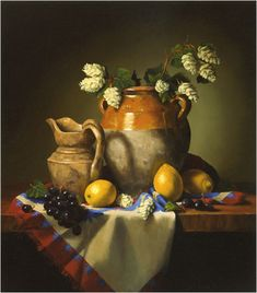 Old French Pottery with Hops by Claudia Seymour