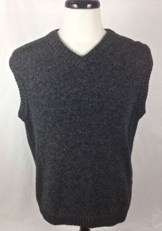 WOOLRICH Sweater Mens L Gray WOOL Sleeveless Vest  #Woolrich #Vest