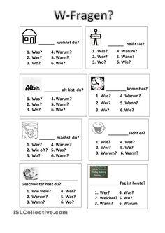 Oefenblad voor de W-Fragen.