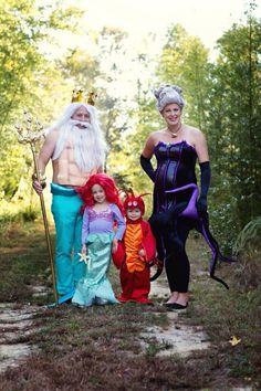 The Little Mermaid themed family Halloween costumes