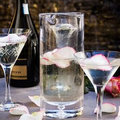 A refreshing summertime drink! Decorate with rose petals for a romantic touch. Prosecco Punch, Summertime Drinks, Rose Petals, Pint Glass, Allrecipes, Alcoholic Drinks, Valentines Day, Romantic, Lunches