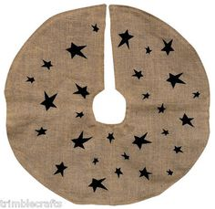 Christmas tree skirt burlap folk art stars primitive home decor
