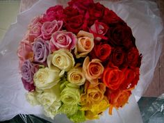 famous miho kosuda rainbow rose bouquet