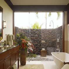 bathroom with courtyard