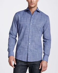 Solid Woven Sport Shirt, Denim by Zachary Prell at Neiman Marcus.