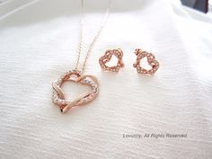 Rose Gold Filled Double Heart Pendent Necklace/Earrings/Whole Set Perfect Gift For Her, Gifts For Her, Austrian Crystal, Gold Necklace, Gems, Rose Gold, Crystals, Pendant