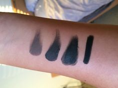 ABH Dipbrow Pomade Swatches + Comparison - Imgur  from L to R - soft brown, ebony & granite.  the last one is an UD true black eye liner.