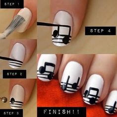 diy music note nails nails diy diy nails diy nail art easy nail art So cool! Music Note Nails, Music Nail Art, Music Nails, Art Music, Piano Nails, Polish Music, Nail Art Diy, Easy Nail Art, Diy Nails