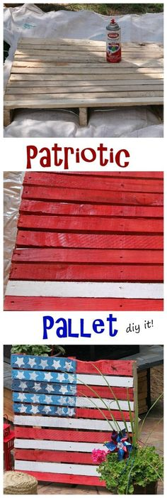 a patriotic pallet Ooooohhhh.I got to do this for a fourth of July decoration on my porch!I got to do this for a fourth of July decoration on my porch! Patriotic Crafts, Patriotic Decorations, July Crafts, Holiday Crafts, Holiday Ideas, Yard Decorations, Patriotic Wreath, Holiday Recipes, Pallet Home Decor